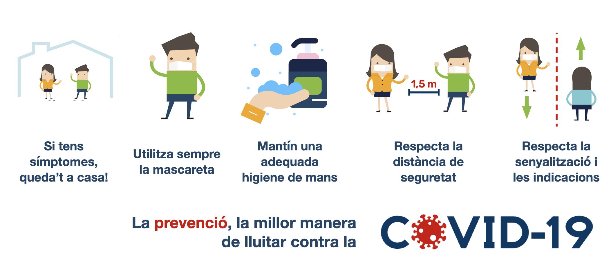 Informació sobre la prevenció de la COVID-19.